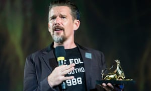 Ethan Hawke receives the Excellence award during at the Locarno film festival in Switzerland