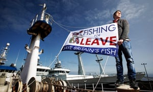 A leave campaigner on his fishing boat in  Fraserburgh, Scotland. Photograph: Murdo MacLeod