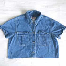 The denim shirt that became part of the flipped trench coat.