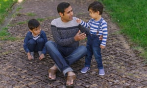 Owais Raja, with his sons, Aayan, six, and Aazan, two, in May.