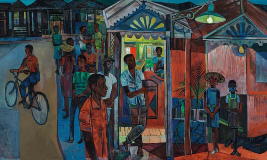 A detail from Jamaican Village by John Minton.