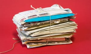 Bundle of old love letters. Stack of mail
