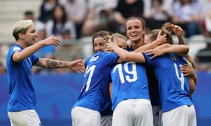 Aurora Galli is congratulated by teammates after scoring Italy's fifth.