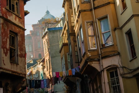 Traditional houses in the Balat district of Istanbul.