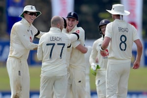 Jack Leach celebrating his wicket after removing Dinesh Chandimal.