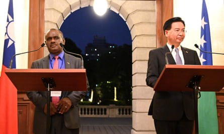 The Solomon Islands' foreign minister, Jeremiah Manele, with his Taiwanese counterpart, Joseph Wu, on 9 September.