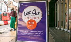 An Eat Out to Help Out sign in Wimbledon town centre as part of government scheme to support for businesses and self employed people during coronavirus when customers get a 50% discount when eating in at restaurants.
