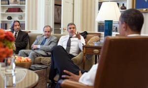 Missing in action … left to right, John Prendergast; Princeton N Lyman, US special envoy for Sudan; and George Clooney meet President Obama in 2012.