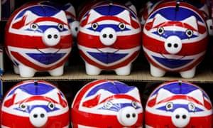 Piggy banks with Union Jack flag