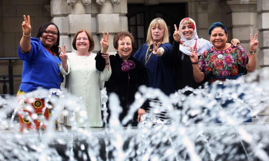 Nobel laureates and members of the Nobel Women's Initiative (left to right) Leymah Gbowee, Mairead Maguire, Shirin Ebadi, Jody Williams, Tawakkol Karman and Rigoberta Menchú Tum.