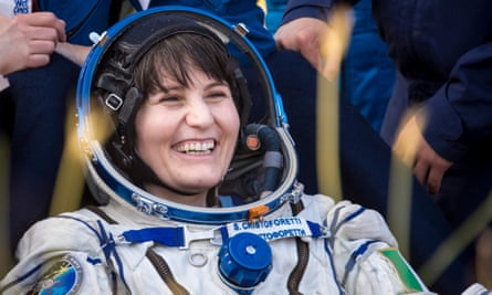 Cristoforetti pictured minutes after she and two fellow astronauts returned from the ISS, landing in a remote area of Kazakhstan.