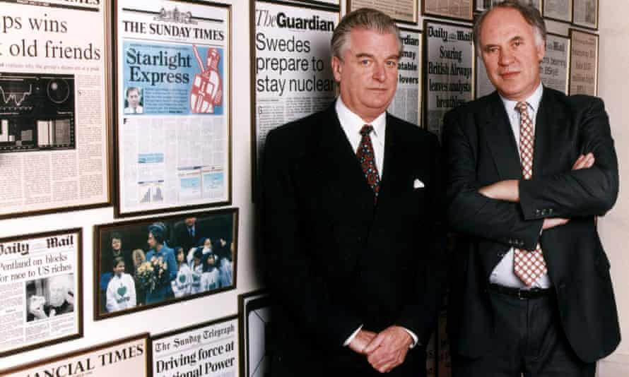 Tim Bell with the journalist and broadcaster Michael Cockerell in 1999.