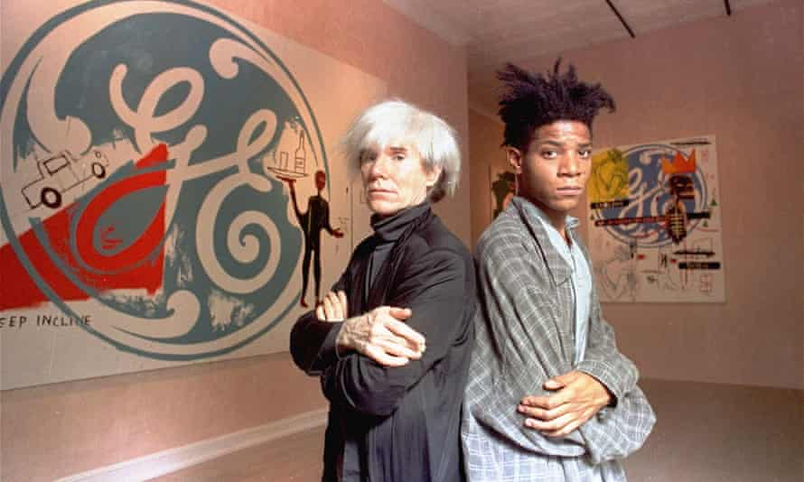 Jean-Michel Basquiat (right) with Andy Warhol, in 1985