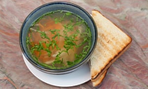 'Crystal clear but full of depth': chicken soup.