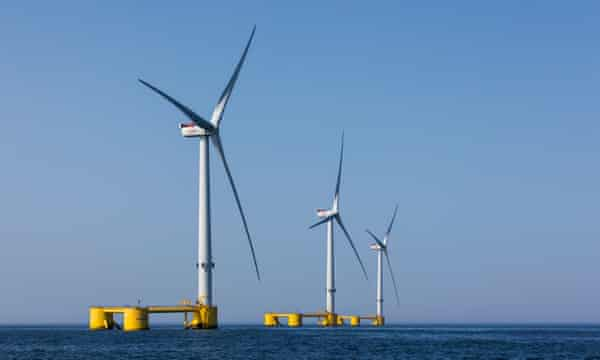 Semi-submersibale floating wind turbines off the coast of Viana do Castelo, Portugal.