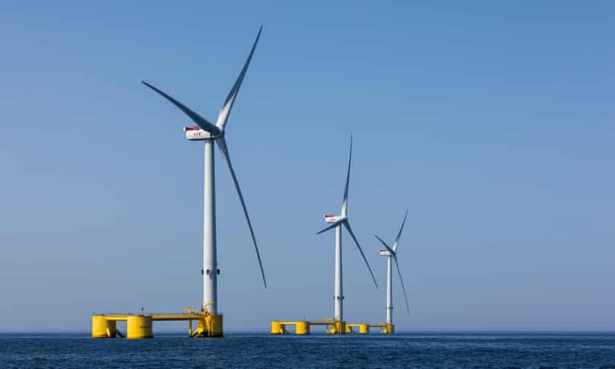 Wind turbines off the coast of Viana do Castelo, Portugal.