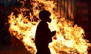 A fire set by supporters of Evo Morales in Sacaba, Chapare province, after his resignation as president.
