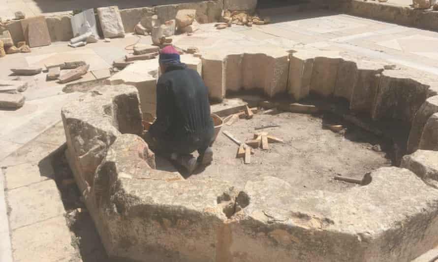 A builder training in Aleppo's citadel.