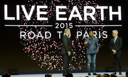 Former US vice-president Al Gore (left), US rapper Pharrell Williams (centre) and producer Kevin Wall (right) on stage during a panel session at the World Economic Forum in Davos, Switzerland, January 2015.