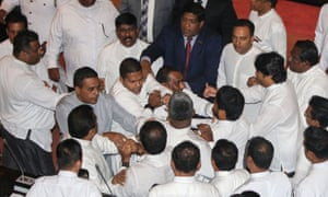 A clash between rival members of the Sri Lankan parliament, in Colombo.