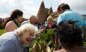 Brewing for Frieze … Locals pick hops to make drinks later sold at the art fair.