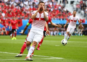 Seferovic reacts after his effort is well saved by Berisha.