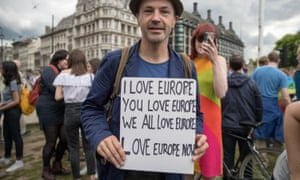 A protest held in Parliament Square in London on 25 June against the referendum result.