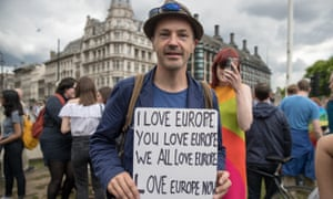 Anti-Brexit protesters gather outside parliament in London.