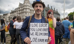 An anti-Brexit protester in London after the EU referendum vote. The incidence of hate crime has risen since the vote.