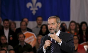 Canada's NDP leader Thomas Mulcair speaks at a campaign event in Sherbrooke, Quebec.