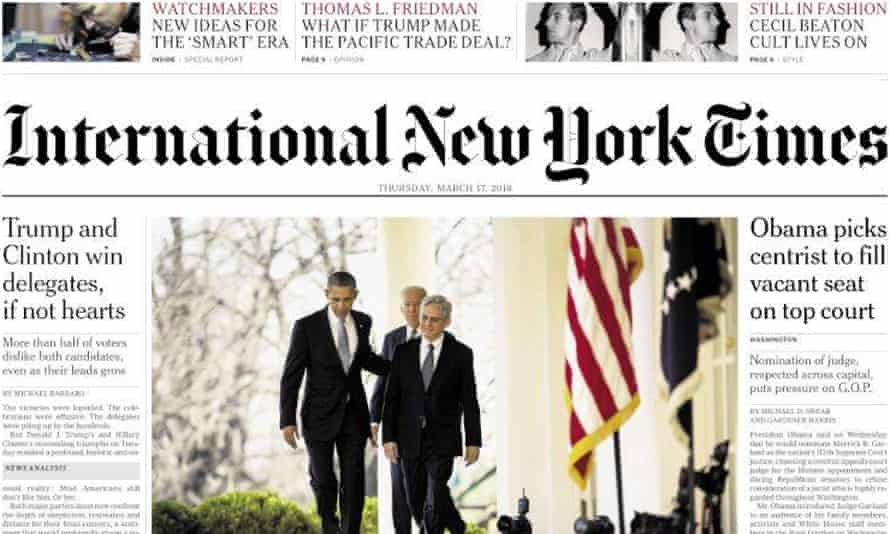 The New York Times plans to move most of the staff on its iternational edition to London, New York or Hong Kong