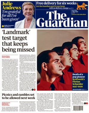 Guardian front page, Thursday 7 May 2020