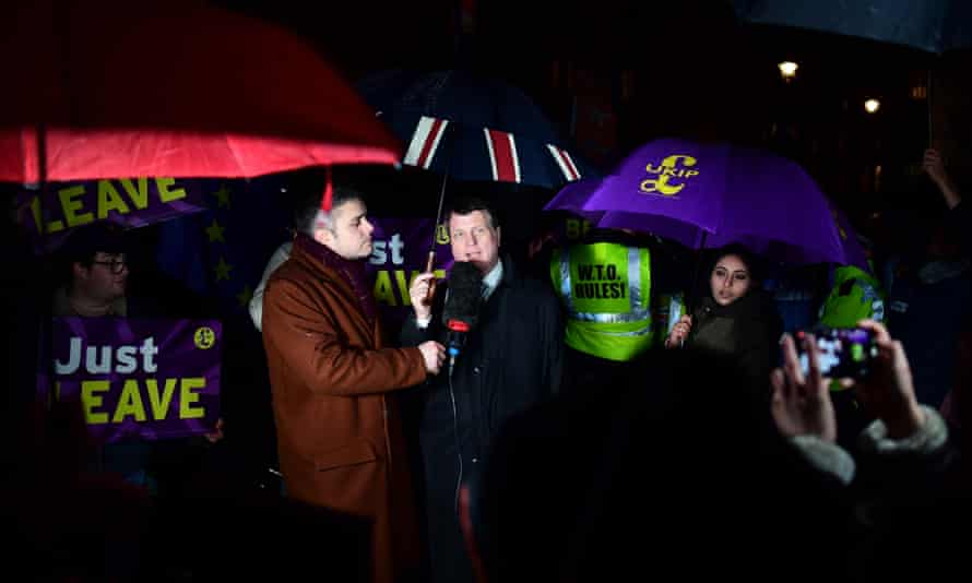 Gerard Batten outside the Houses of Parliament in January