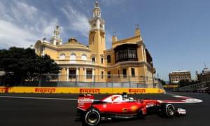 Sebastian Vettel in final practice in Baku yesterday.