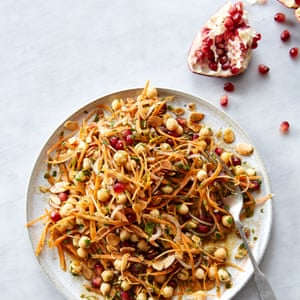 "Carrot, pomegranate and chickpea salad with a spiced citrus dressing, from ""Solo"" by Signe Johansen"