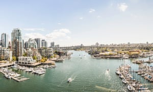 Elevated view of harbour, bridge and marina yachts, Vancouver, Canada