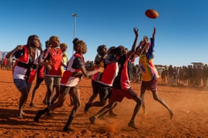 Women's Bush FootyOnce a year, teams all over Central Australia travel to participate in the annual Papunya Carnival. They travel extreme distances on hazardous dirt roads to make the pilgrimage.This year 12 women's teams participated – it's only the second year of women's competition, which started spontaneously after borrowing the men's jerseys. Papunya, NT
