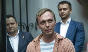 Russian investigative journalist Ivan Golunov, centre, was unexpectedly released from custody in June.