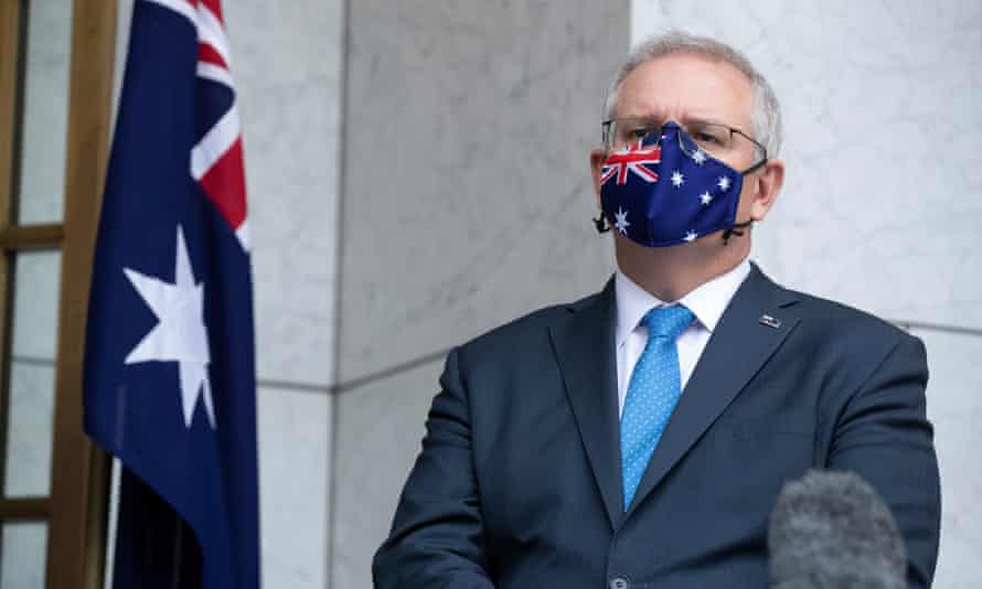 Prime minister Scott Morrison emerges from national cabinet for a press conference