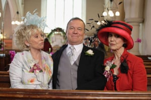 Barbara Windsor as Peggy Mitchell, Nicky Henson as Jack Edwards and Una Stubbs as Aunty Caroline in EastEnders.