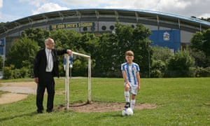 Chris Marsden, chair of Huddersfield Civic Society, and grandson Noah Fox