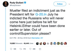 Rudy Giuliani's tweet, with the link to the G-20.In domain.