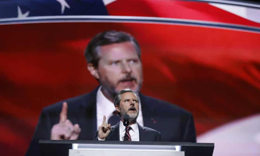 Jerry Falwell Jr, president of Liberty University, speaks during the Republican National Convention in Cleveland, Ohio. He resigned in August amid a sexual scandal.