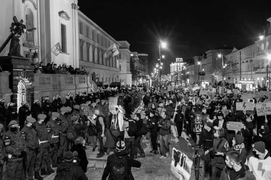 A mass protest in Warsaw last October to protest against a court decision to ban nearly all abortions.