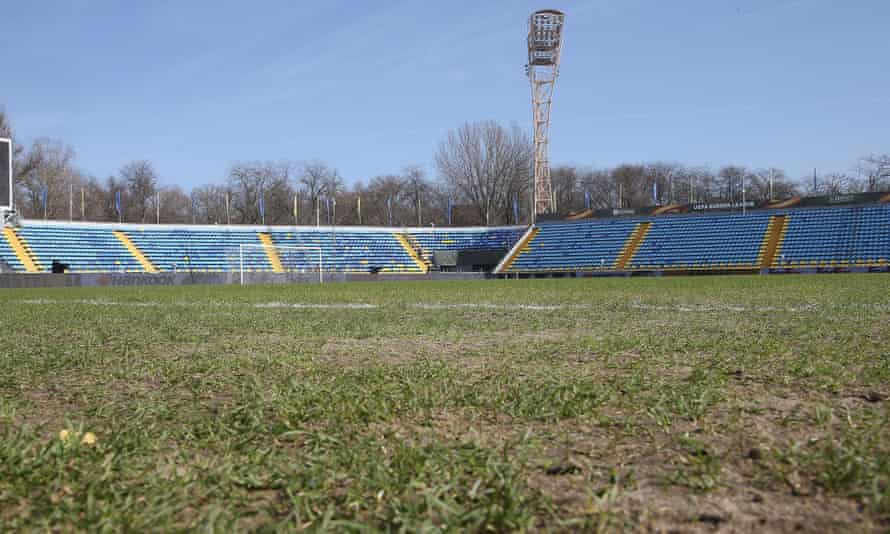 A general view of the pitch at the Olimp-2 stadium before the Manchester United training session on Wednesday.