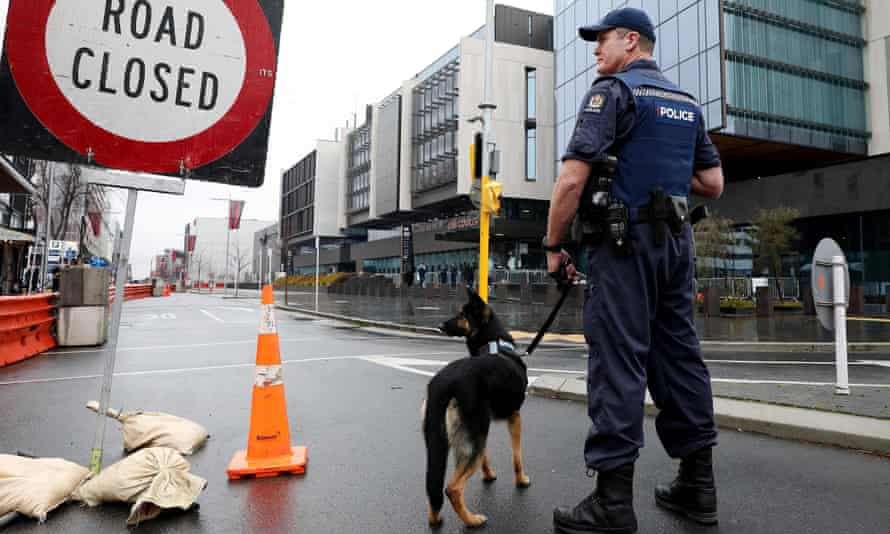 Armed police outside the high court in Christchurch, New Zealand, as victims arrive for the sentencing hearing of the mosque gunman.