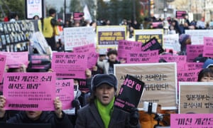 South Koreans hold a weekly rally over the issue of wartime abuses outside the Japanese embassy in Seoul last week.