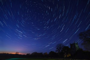 Star trails above a North Yorkshire village