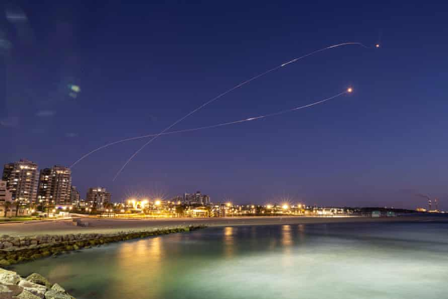 Israel's Iron Dome anti-missile system intercept rockets launched from the Gaza Strip towards Israel