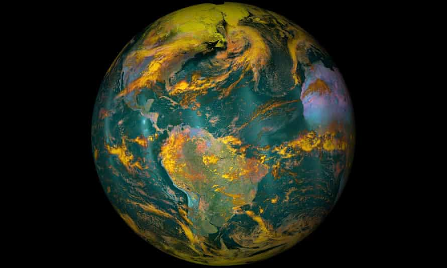 This NOAA/NASA image shows Earth using near-infrared and shortwave infrared energy instead of the standard red, green, and blue light that the human eye has evolved to detect. By using infrared energy rather than visible light, the colors indicate differences in temperature rather than what they look like. For example, instead of appearing just white, clouds are shades of yellow, orange, and red depending on their elevation.